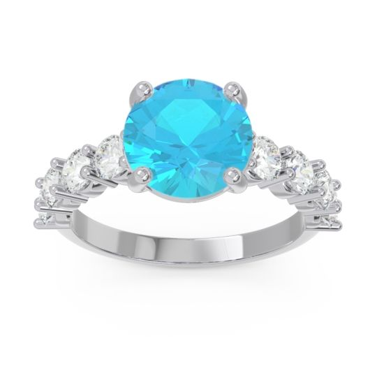 Classic Pave Bhavya Swiss Blue Topaz Ring with Diamond in 14k White Gold