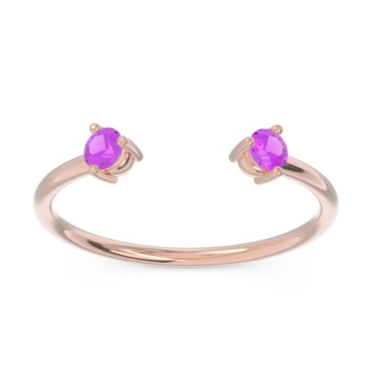 Amethyst Petite Open Parzana Band in 14K Rose Gold