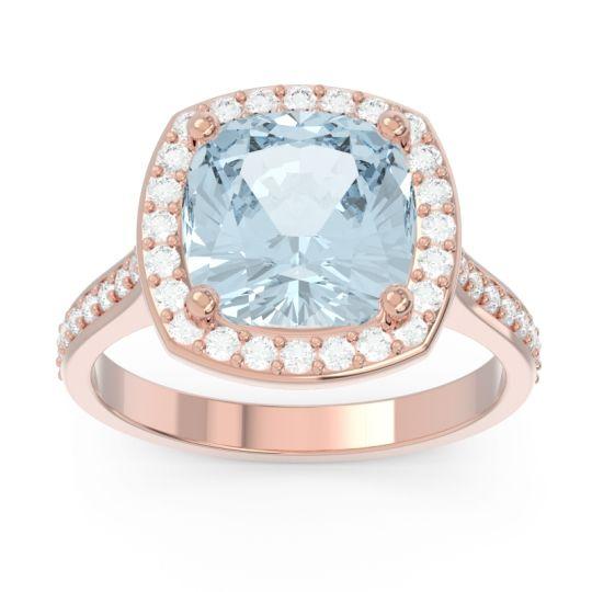 Aquamarine Halo Pave Cushion Simhasana Ring with Diamond in 14K Rose Gold