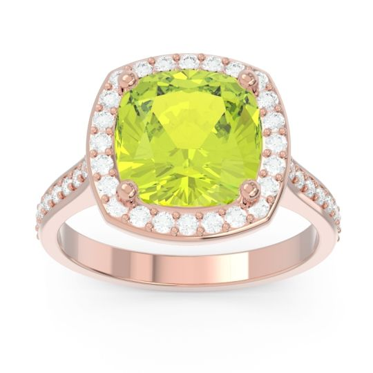 Halo Pave Cushion Simhasana Peridot Ring with Diamond in 14K Rose Gold