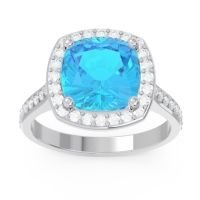 Halo Pave Cushion Simhasana Swiss Blue Topaz Ring with Diamond in 14k White Gold