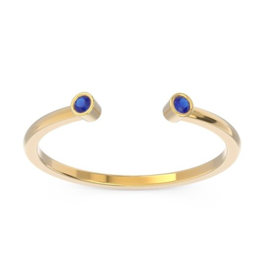 Blue Sapphire Petite Open Bezel Atata Band in 14k Yellow Gold