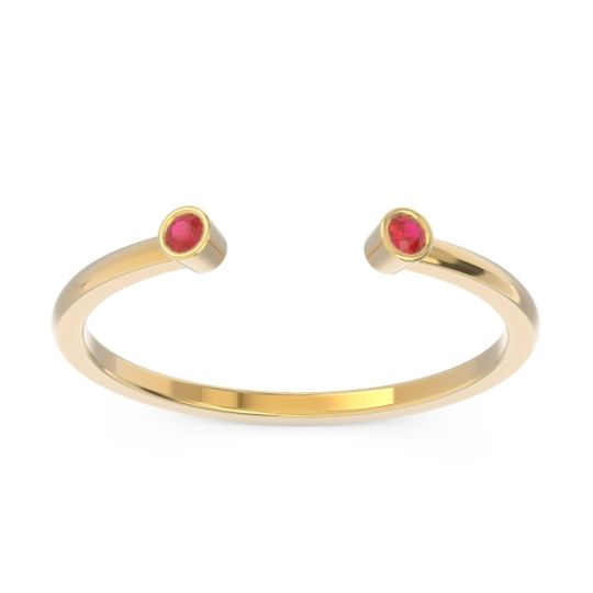 Petite Open Bezel Atata Ruby Band in 14k Yellow Gold
