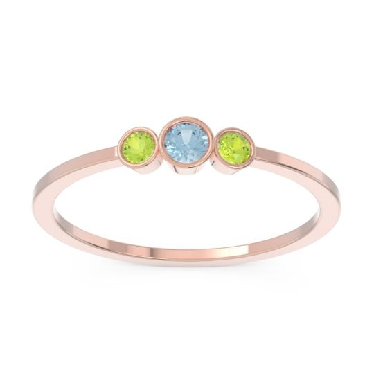 Aquamarine Petite Three Stone Bezel Treta Band with Peridot in 14K Rose Gold
