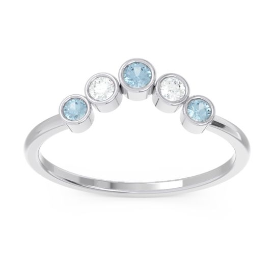 Simple Bezel Curved Haricapa Aquamarine Ring with Diamond in 14k White Gold