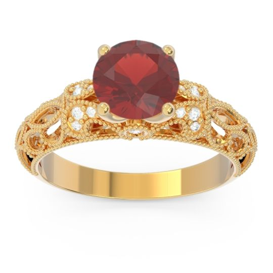 Classic Milgrain Pave Pravaha Garnet Ring with Diamond in 14k Yellow Gold