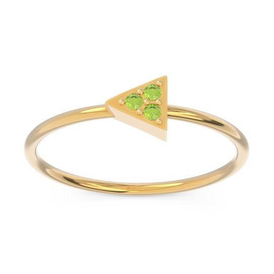 Petite Pave Zalya Peridot Ring in 14k Yellow Gold