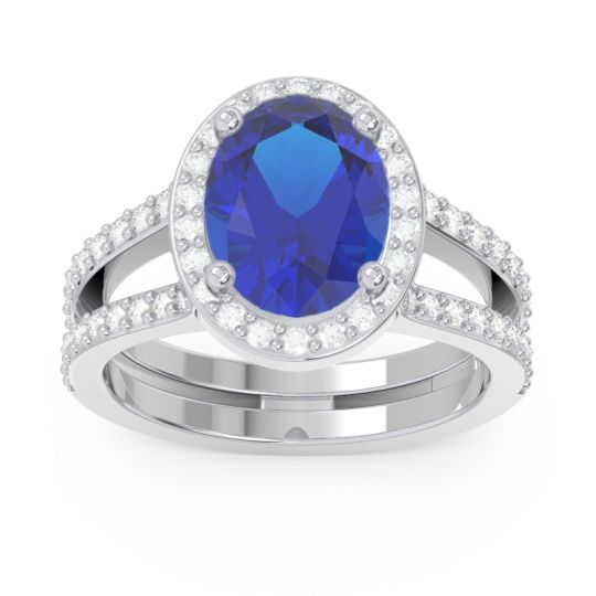 Blue Sapphire Halo Pave Oval Palya Ring with Diamond in 14k White Gold