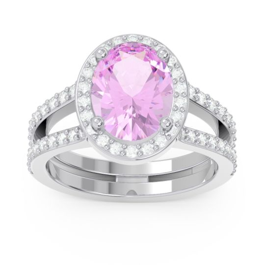 Halo Pave Oval Palya Pink Tourmaline Ring with Diamond in 14k White Gold