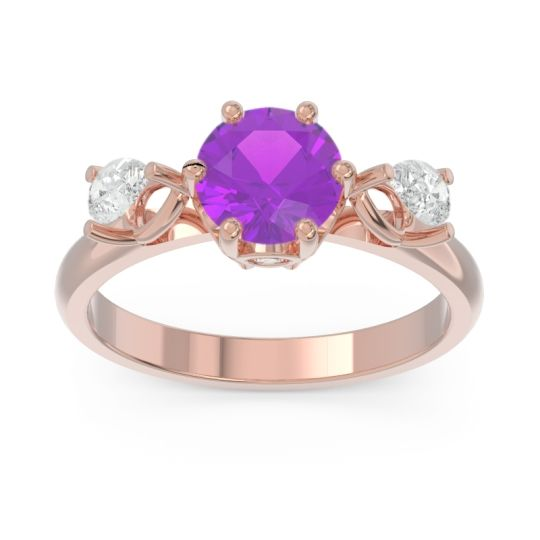 Three Stone Pear Taraggana Amethyst Ring with Diamond in 14K Rose Gold