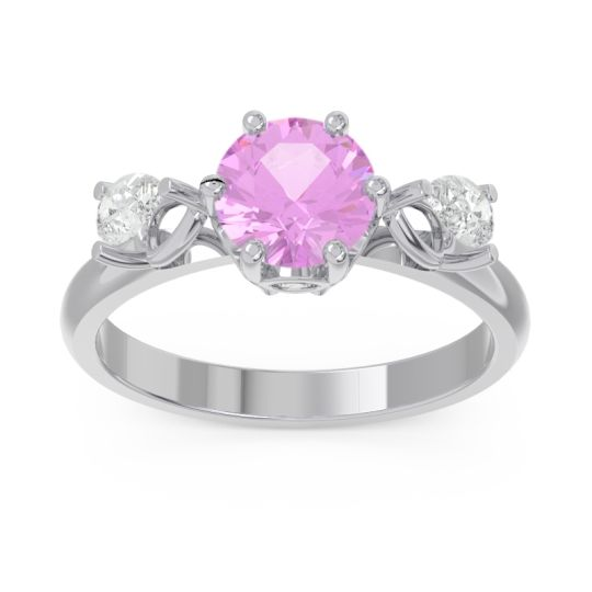 Three Stone Pear Taraggana Pink Tourmaline Ring with Diamond in 14k White Gold