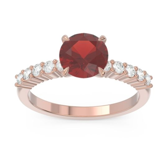 Classic Pave Darad Garnet Ring with Diamond in 18K Rose Gold