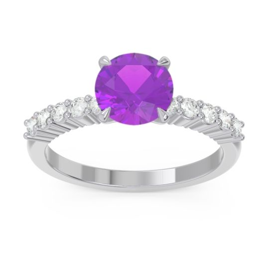Classic Pave Darad Amethyst Ring with Diamond in 14k White Gold