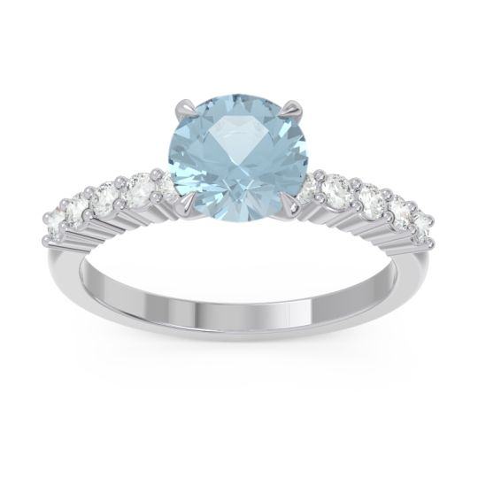 Classic Pave Darad Aquamarine Ring with Diamond in 14k White Gold