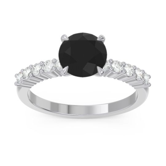 Classic Pave Darad Black Onyx Ring with Diamond in 14k White Gold
