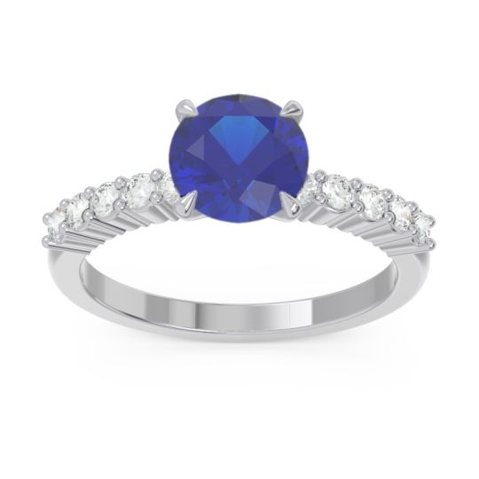 Classic Pave Darad Blue Sapphire Ring with Diamond in 14k White Gold
