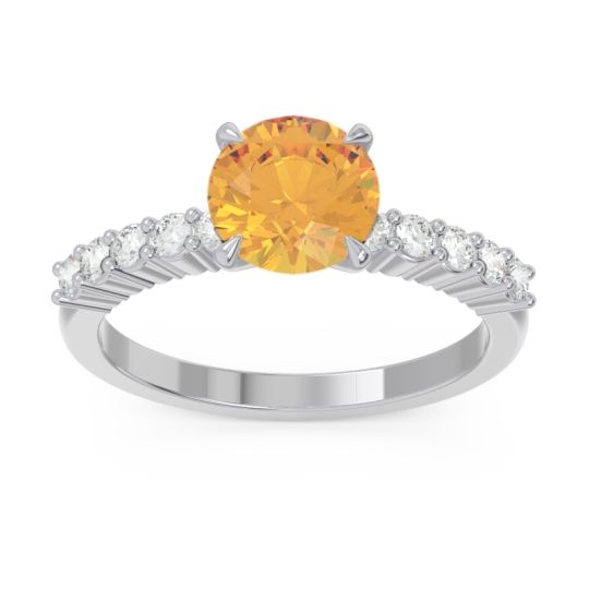 Classic Pave Darad Citrine Ring with Diamond in 14k White Gold