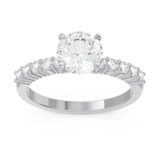Classic Pave Darad Diamond Ring in 14k White Gold