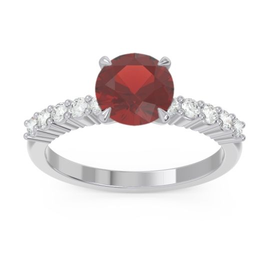 Classic Pave Darad Garnet Ring with Diamond in 18k White Gold