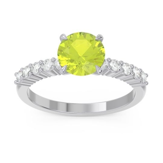 Classic Pave Darad Peridot Ring with Diamond in 14k White Gold