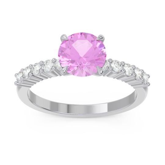 Classic Pave Darad Pink Tourmaline Ring with Diamond in 14k White Gold