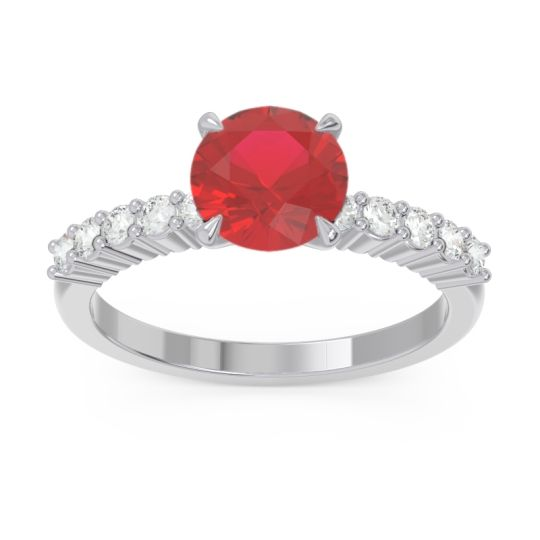 Classic Pave Darad Ruby Ring with Diamond in 14k White Gold