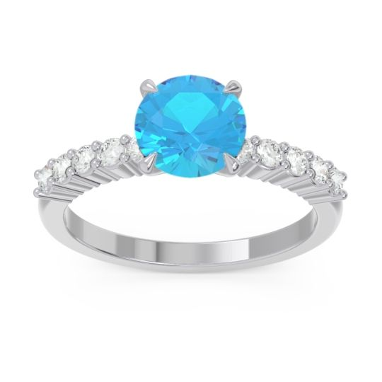 Classic Pave Darad Swiss Blue Topaz Ring with Diamond in 14k White Gold