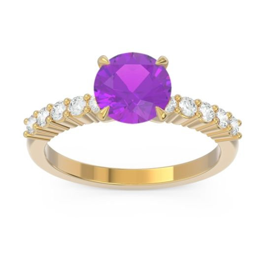 Classic Pave Darad Amethyst Ring with Diamond in 14k Yellow Gold