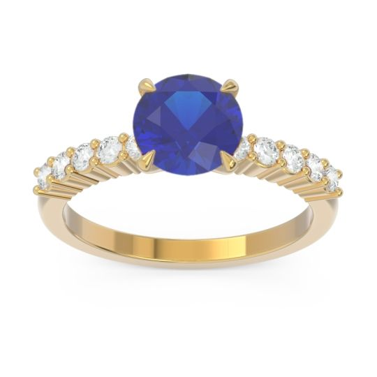 Classic Pave Darad Blue Sapphire Ring with Diamond in 14k Yellow Gold