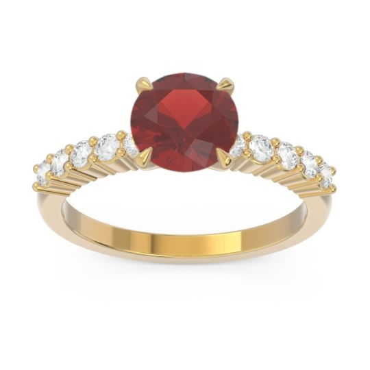 Classic Pave Darad Garnet Ring with Diamond in 18k Yellow Gold