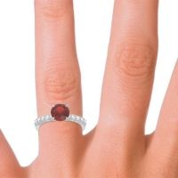 Classic Pave Darad Garnet Ring with Diamond in 14k White Gold