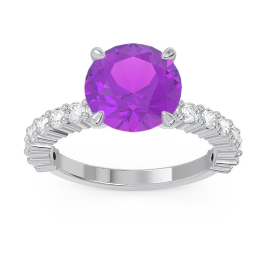 Classic Pave Manika Amethyst Ring with Diamond in 14k White Gold