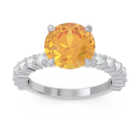 Classic Pave Manika Citrine Ring with Diamond in 14k White Gold