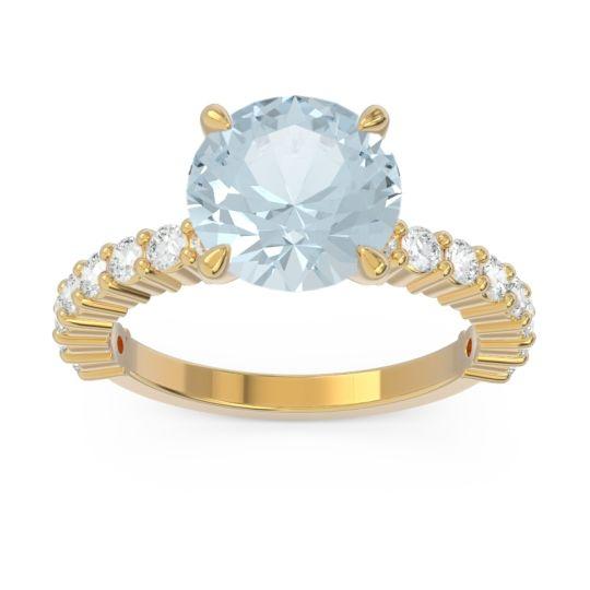 Classic Pave Manika Aquamarine Ring with Diamond in 14k Yellow Gold
