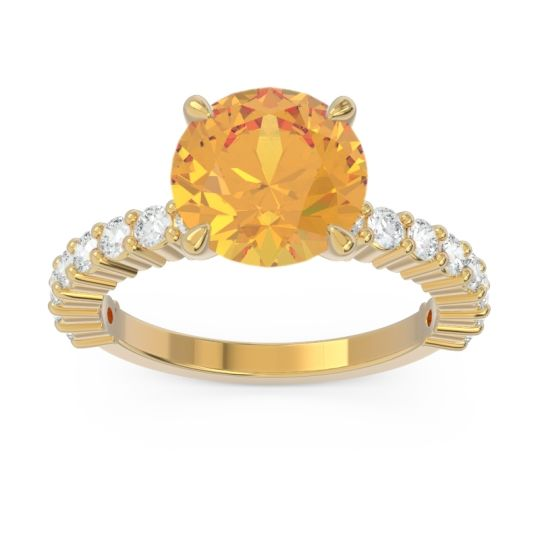 Classic Pave Manika Citrine Ring with Diamond in 14k Yellow Gold