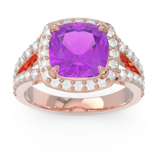 Halo Pave Cushion Sumahat Amethyst Ring with Diamond in 14K Rose Gold