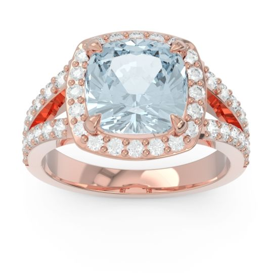 Halo Pave Cushion Sumahat Aquamarine Ring with Diamond in 14K Rose Gold