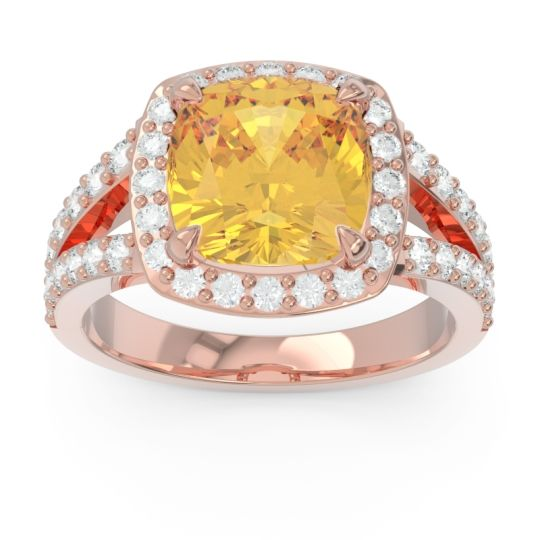 Halo Pave Cushion Sumahat Citrine Ring with Diamond in 14K Rose Gold