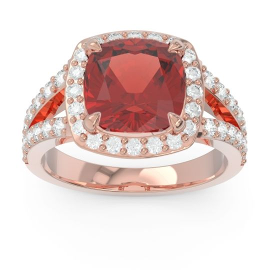 Halo Pave Cushion Sumahat Garnet Ring with Diamond in 18K Rose Gold