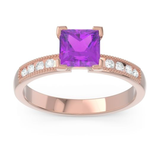 Classic Milgrain Princess Avikala Amethyst Ring with Diamond in 14K Rose Gold