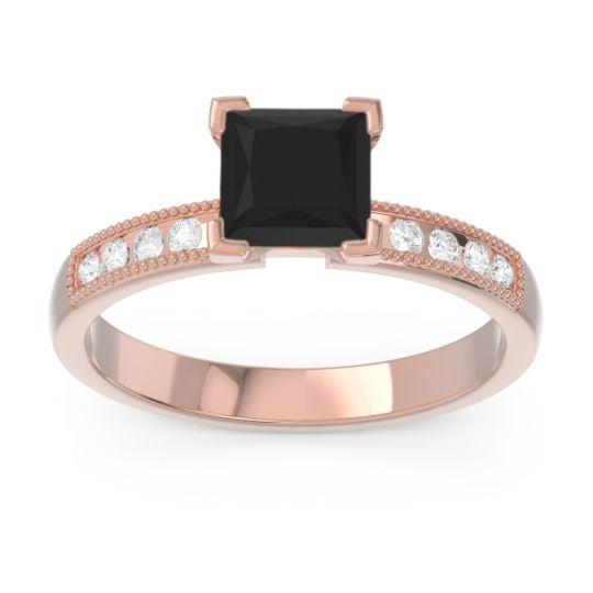 Classic Milgrain Princess Avikala Black Onyx Ring with Diamond in 14K Rose Gold