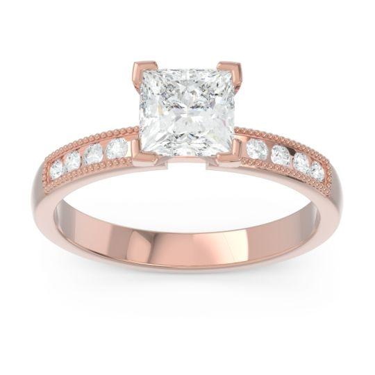 Classic Milgrain Princess Avikala Diamond Ring in 14K Rose Gold