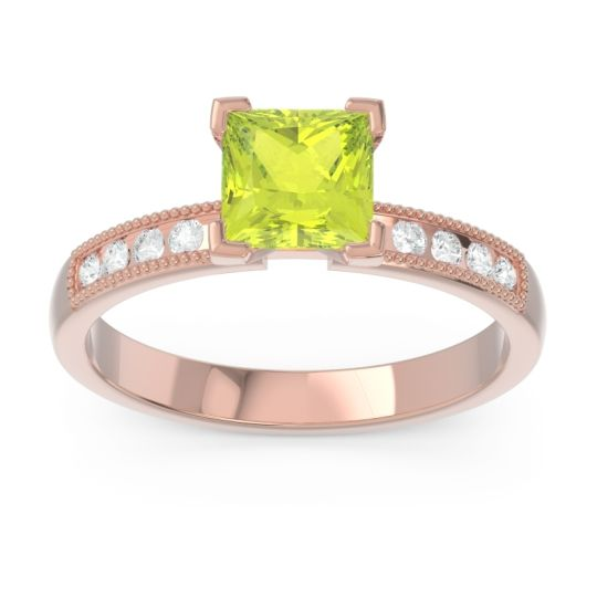 Classic Milgrain Princess Avikala Peridot Ring with Diamond in 14K Rose Gold