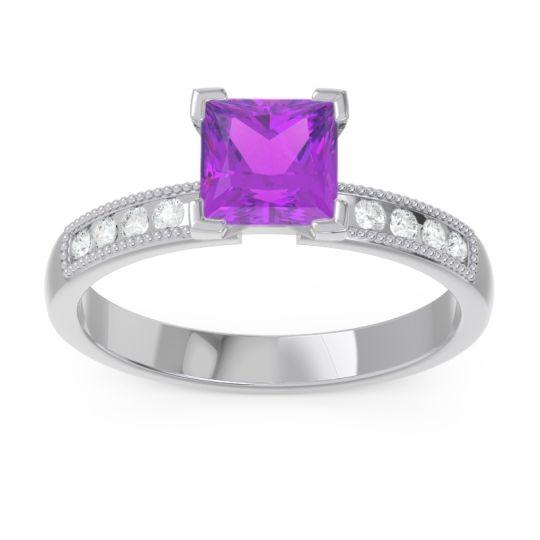 Classic Milgrain Princess Avikala Amethyst Ring with Diamond in 14k White Gold