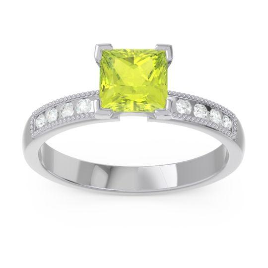 Classic Milgrain Princess Avikala Peridot Ring with Diamond in 14k White Gold