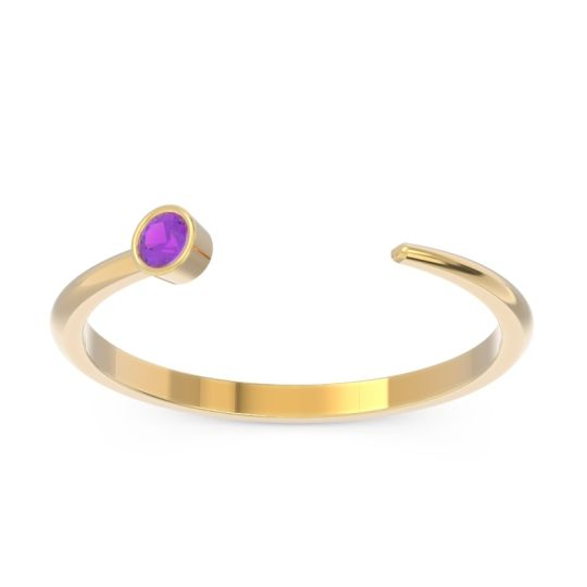 Petite Open Bezel Ketutara Amethyst Band in 14k Yellow Gold