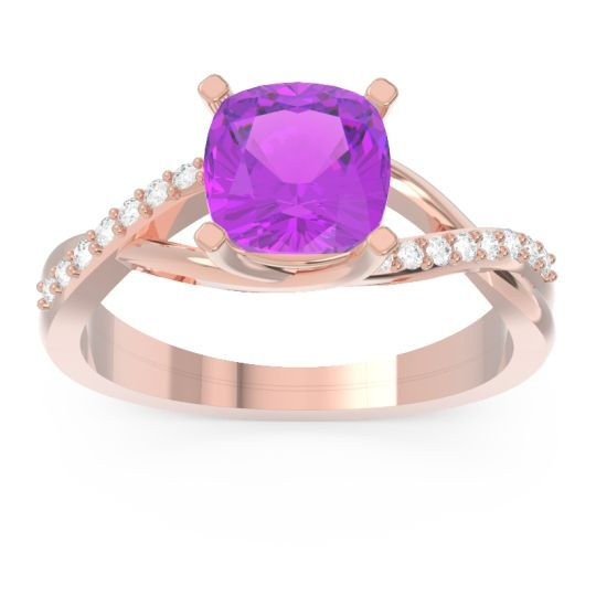 Modern Bypass Cushion Lagna Amethyst Ring with Diamond in 14K Rose Gold