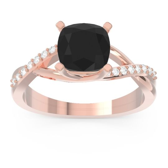 Modern Bypass Cushion Lagna Black Onyx Ring with Diamond in 14K Rose Gold