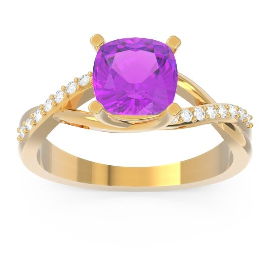 Modern Bypass Cushion Lagna Amethyst Ring with Diamond in 14k Yellow Gold