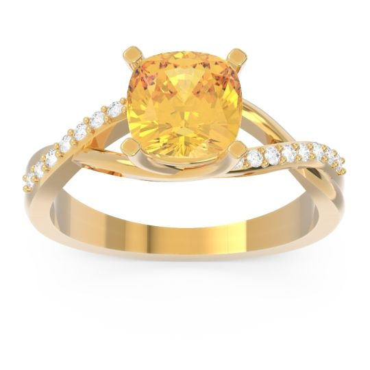 Modern Bypass Cushion Lagna Citrine Ring with Diamond in 14k Yellow Gold